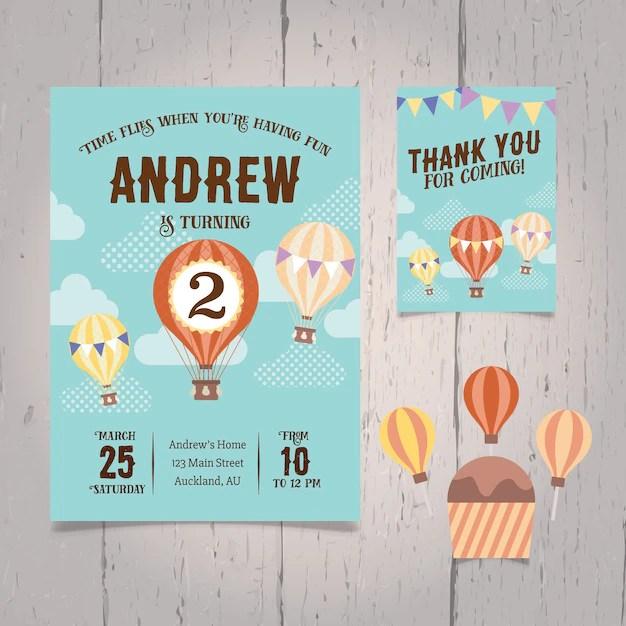 hot air balloon birthday invitation
