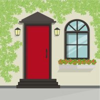 House Front Door and Window View, Vector Illustration ...