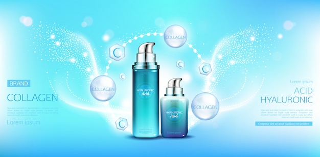 Hyaluronic acid collagen cosmetics packages Free Vector