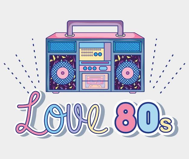 Download I love 80s cartoons radio stereo Vector   Premium Download