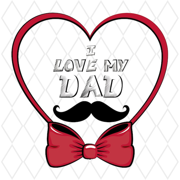 Download I love my dad sign with heart | Premium Vector