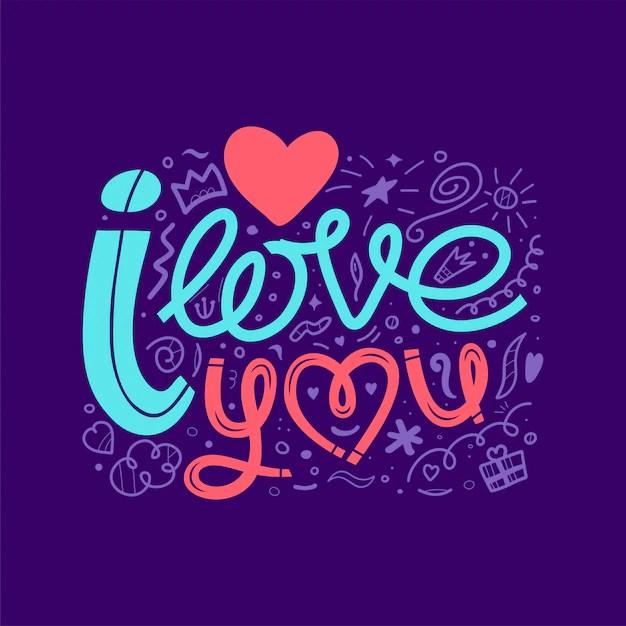 Download I love you, doodle illustration. a hand drawn lettering ...