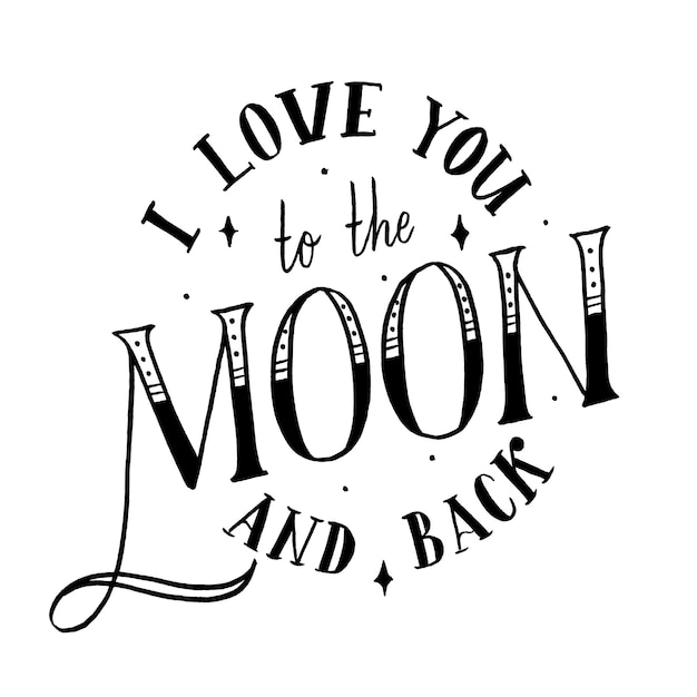 Download I love you to the moon and back | Premium Vector