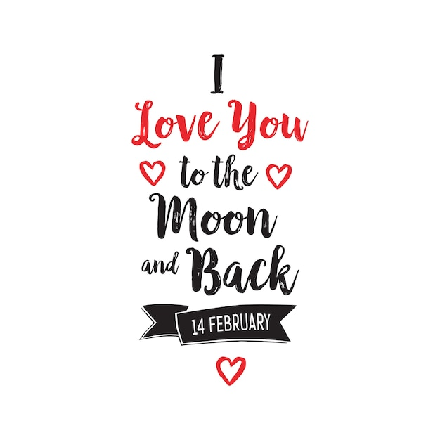 Download I Love You to Moon and Back Lettering Vector | Free Download