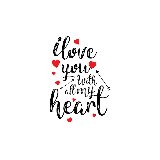 Download I love you with all my heart | Free Vector