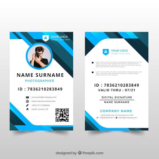 id card template with
