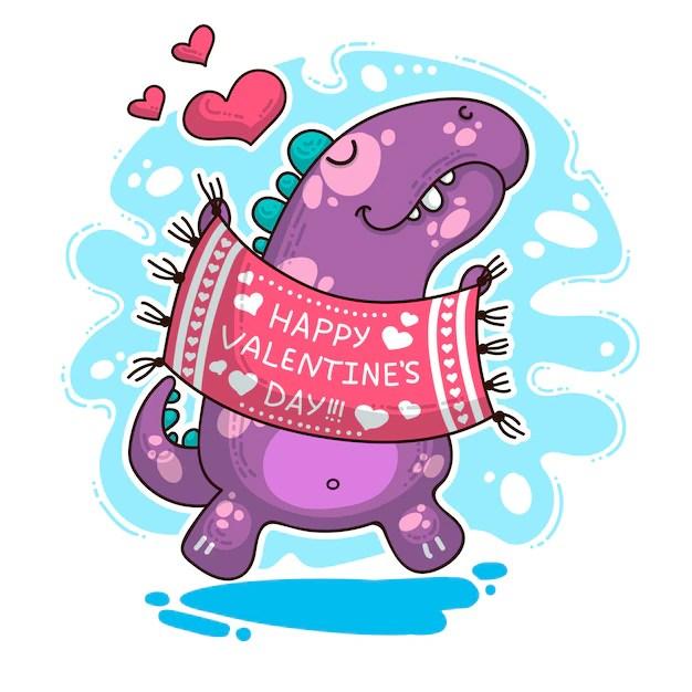 Download Illustration about dinosaur in love   Premium Vector