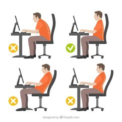Posture Chair Demo Bar Stool Chairs With Arms Illustration Of Man Correct And Incorrect Vector Free 24