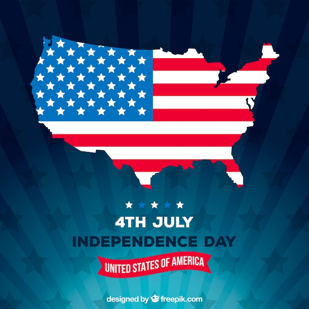 Independence day of 4th of july background in flat style Premium Vector