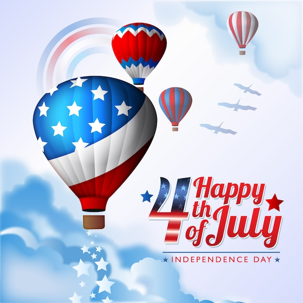 Independence day illustration with balloons Free Vector