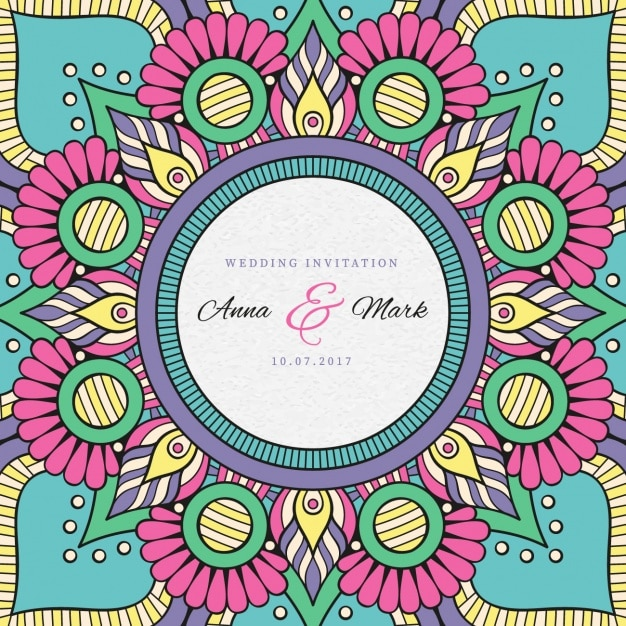 Indian Wedding Invitation Free Vector
