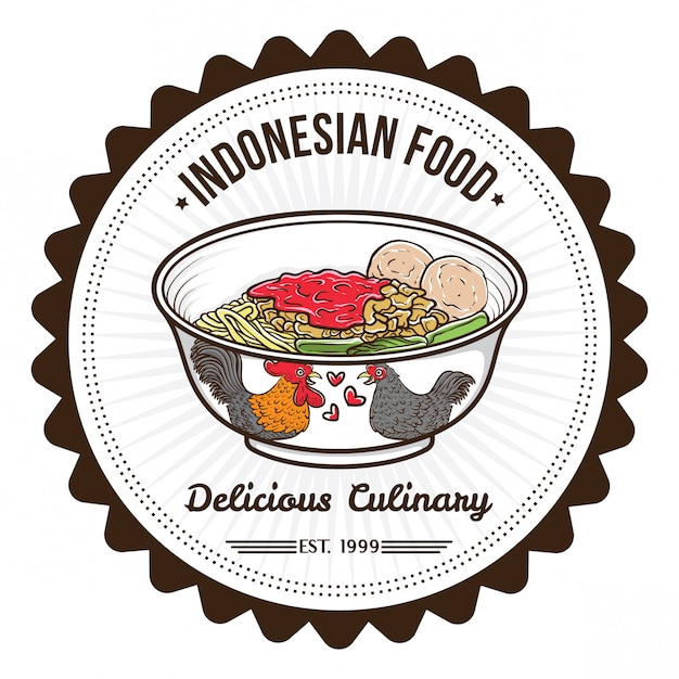 Premium Vector Indonesian Food Noodle And Meat Balls Badge Design Templates