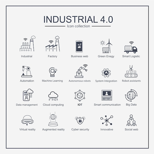 Industry 4.0 smart industrial productions icon set. Vector