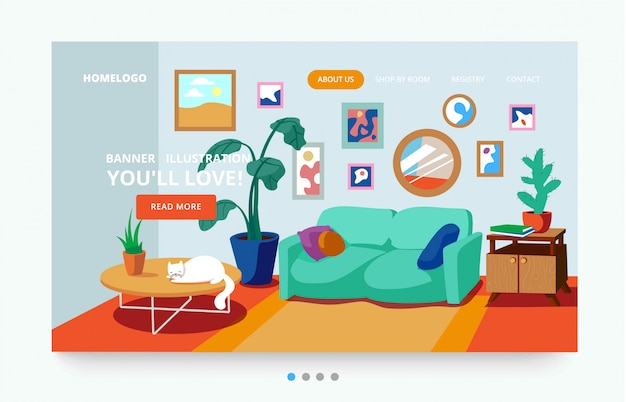 Interior of a living room with plants landing page template Vector | Premium Download