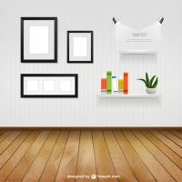 Interior room with wall frames and shelves Vector | Free ...
