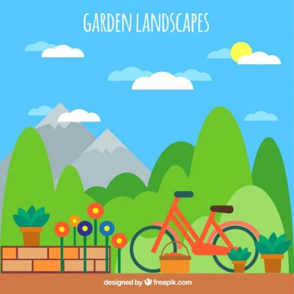 inviting garden landscape vector