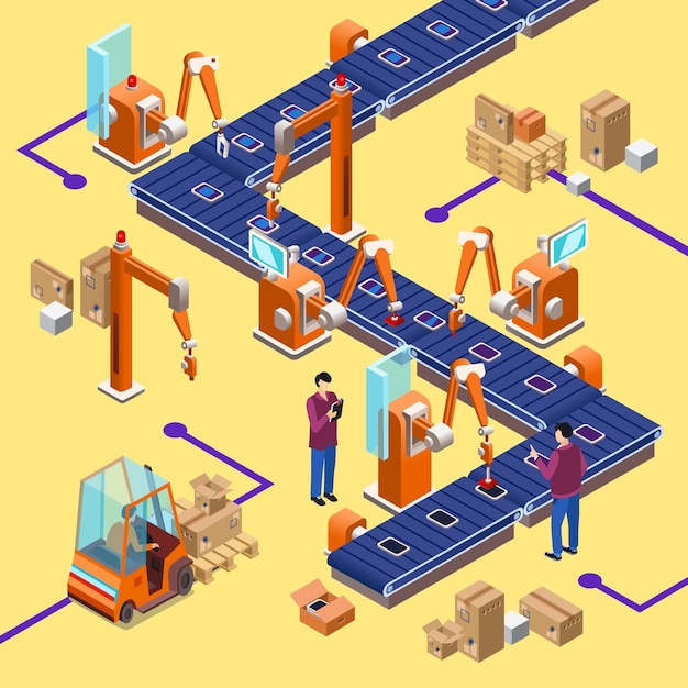 isometric automatic assembly factory
