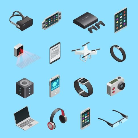 Isometric icons set of different electronic gadgets for ...