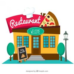 restaurant vector italian flat clipart building facade graphic psd