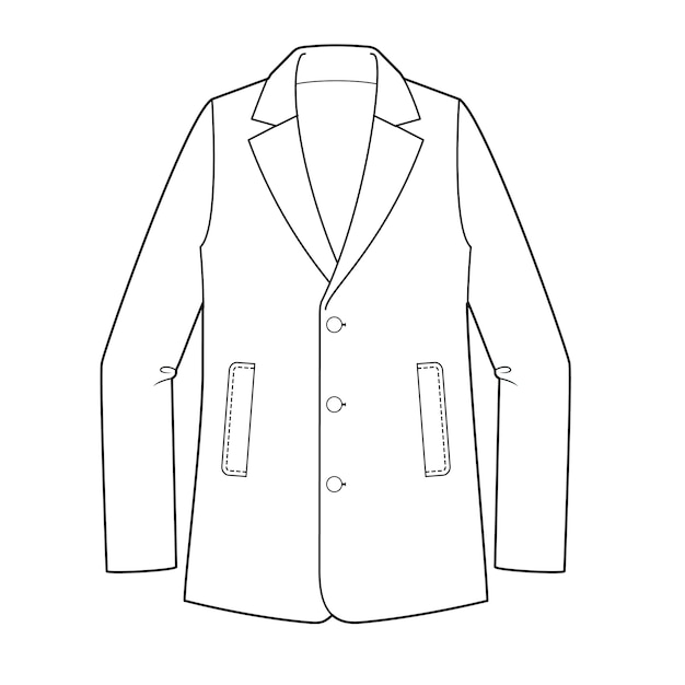 Jacket outer fashion flat technical drawing template