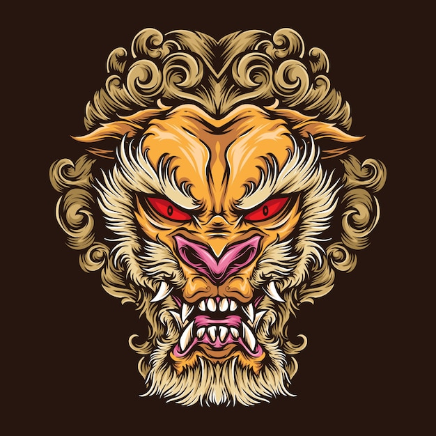 Premium Vector Japanese Lion Tattoo Logo