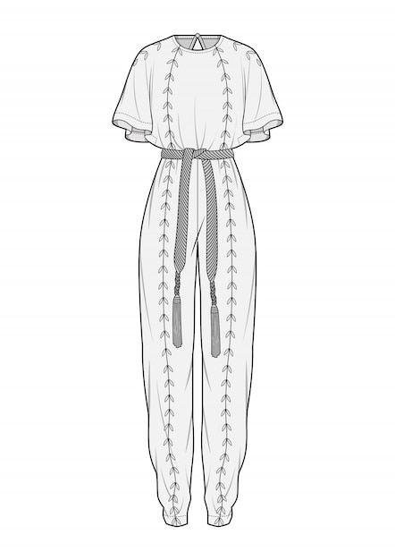 Jumpsuit fashion flat technical drawing vector template