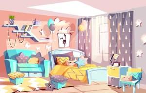 bedroom illustration kid interior furniture modern vector cozy bed scandinavian cartoon background apartment freepik drawing backgrounds bedrooms quarto vectors desenho