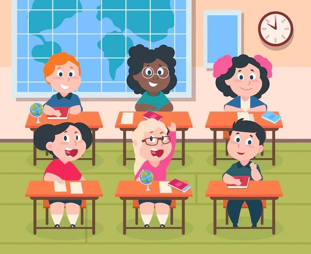 Kids in classroom. cartoon children in school studying ...