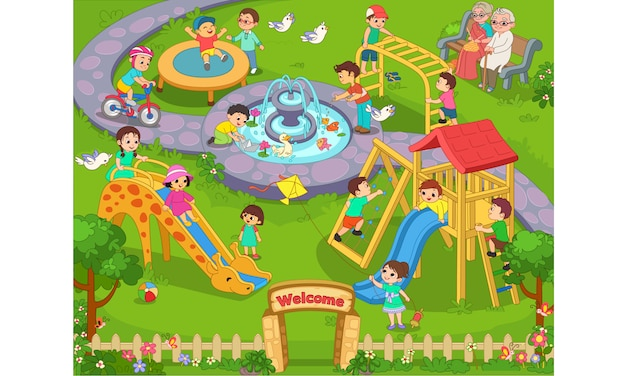 Free Vector Kids Playing In The Garden Cartoon Illustration