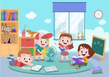Premium Vector Kids study together vector illustration