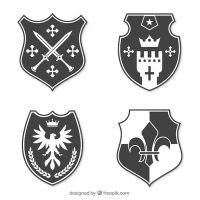Knight emblem design collection Vector | Free Download