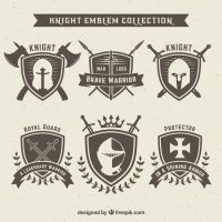 Knight emblem design set Vector | Free Download
