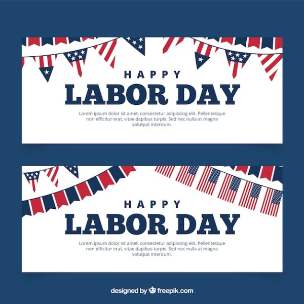 Labor day banners with american flags Vector Free Download