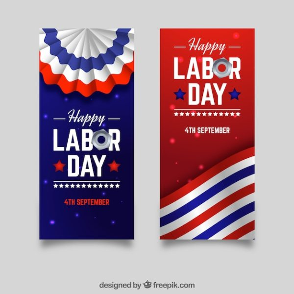 Labor day in the usa banners Vector Free Download