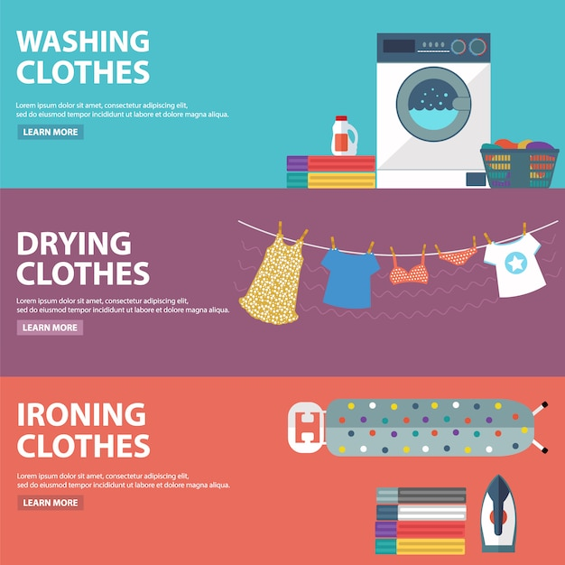 Laundry Banners Collection Vector Free Download