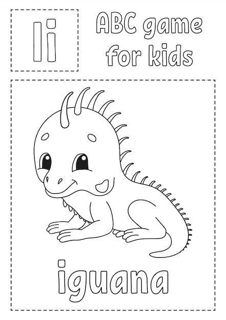 Letter i is for iguana. abc game for kids. alphabet