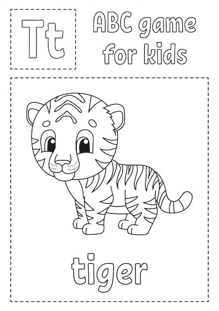 Letter t is for tiger. abc game for kids. alphabet