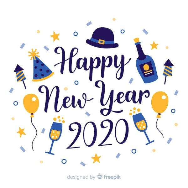 lettering happy year 2020