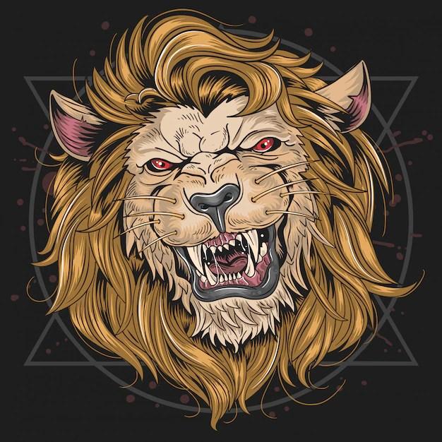 lion fierce head vector