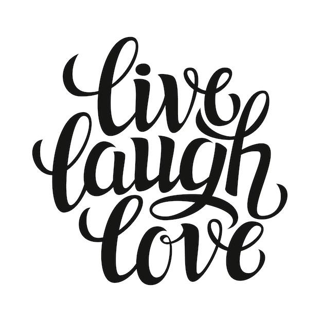 Download Live laugh love, lettering card | Premium Vector
