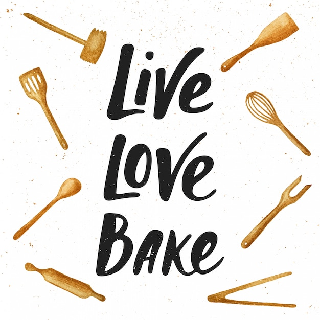 Download Live, love, bake with kitchen tools, lettering | Premium ...