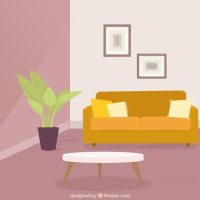 Living room with couch and plant Vector | Free Download