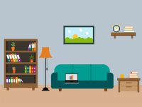 Living room with wooden furniture in flat design Vector ...