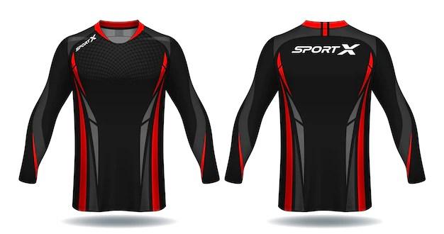 Download Long sleeve soccer jersey template.sport t-shirt design ...