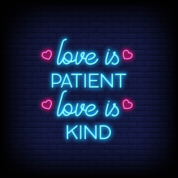 Download Love is patient love is kind in neon signs. modern quote ...
