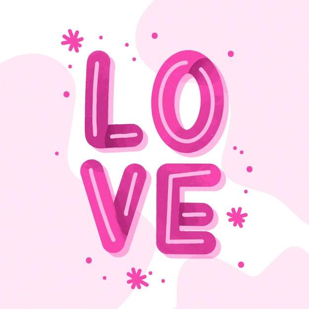 Download Love lettering pink design | Free Vector