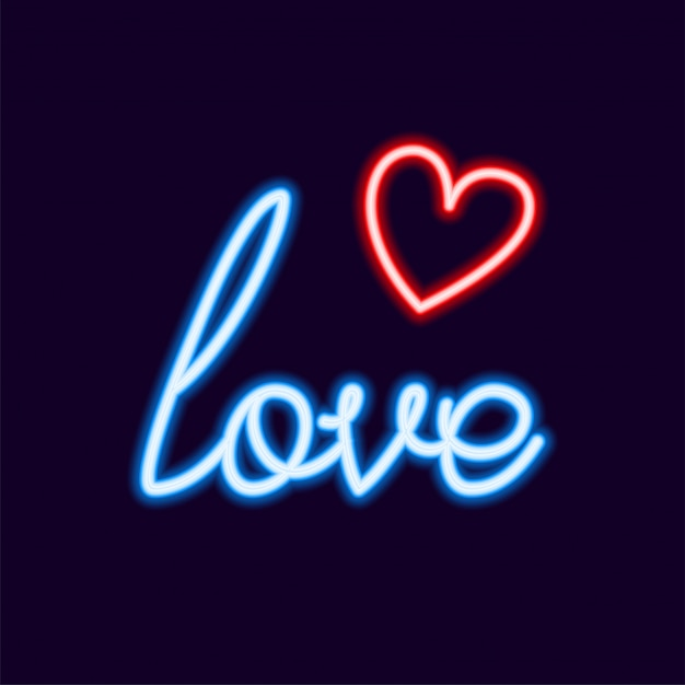 Download Love neon font with icon, 80s text letter glow light retro ...