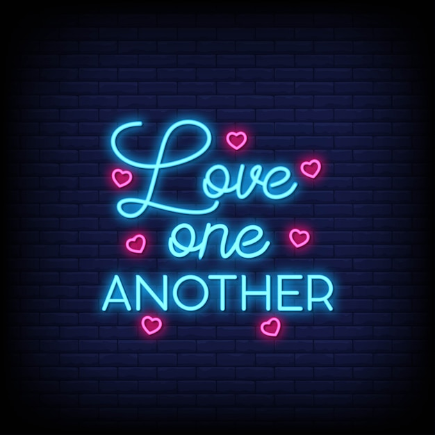Download Love one another neon signs text | Premium Vector