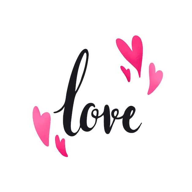 Download Love typography decorated with hearts vector Vector | Free ...