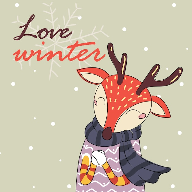 Download Love winter card of deer with scarf | Premium Vector